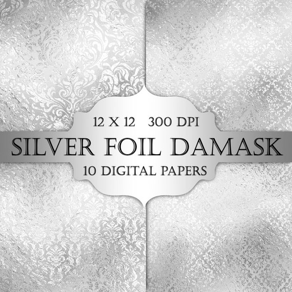 Backdrops Silver Wedding Invitations: Silver Foil Damask Digital Paper Silver Floral Grey