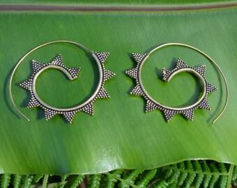 Brass Earrings, Tribal Spiral Earrings, Brass Jewelry, Gypsy Earrings, Boho Chic, Festival Earrings, Boho Earrings, Bohemian Earrings, Brass
