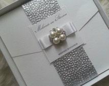 Elegant Boxed Wedding Invitation with Pearl Wrap