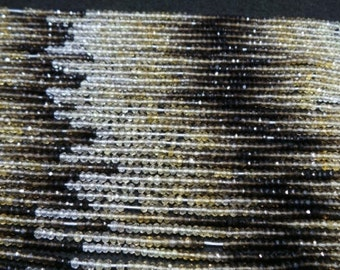 1 Strand Smokey lemon quartz shaded  Faceted rondelle Beads-Size  3 MM 14 inch.