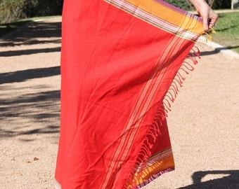 African Kikoy - Beach Kikoi Wrap / Sarong (Red)