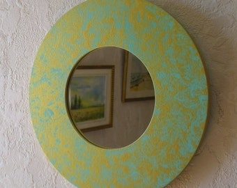 Mirror round, turquoise, Golden - objects DECO objects deco objetsdeco2013