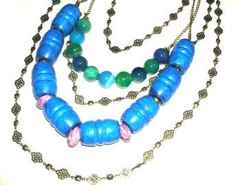 Necklace, Statement Necklace, Necklaces, 5 Strand Necklace, Blue Necklaces