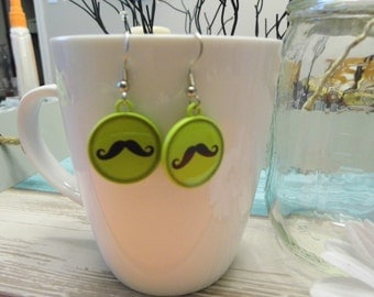 Mustache Bottlecap Earrings