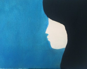 """Woman In Deep Thoughts Original Oil Painting 20"""" x 16"""""""