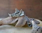 Sterling Mink Jaw, cast bone jewelry, bone jewelry, vulture culture, jawbone necklace, baroness wolfe