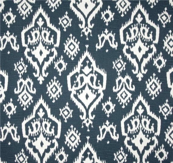 Navy Blue Ikat Cotton Fabric By The Yard Designer Home Decor