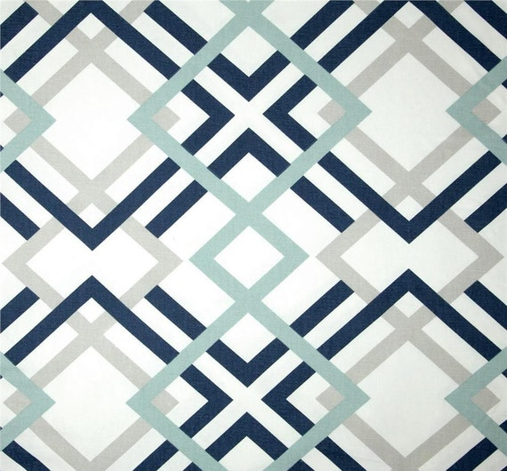 Navy Grey U0026 Aqua Designer Home Decor Fabric By The Yard Cotton Drapery Or  Upholstery Fabric Contemporary Geometric Navy And Grey Fabric B174
