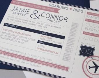 Wedding invitations ticket   Etsy