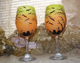 Hand painted wine glass, Halloween glass, grave yard glass,bats, Day of the dead, pumpkin wine glass