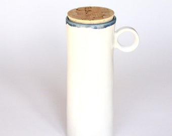 tall ceramic travel mug with lid / to go cup with lid ~ minimalist design ~ natural cork lid ~ white glaze / slate blue accent ~ SIZE LARGE