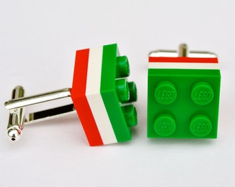 LEGO® Brick Silver Plated Leicester Tigers Mens Rugby Cufflinks