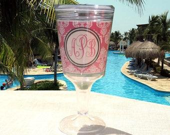 Monogrammed Wine Glasses Personalized Acrylic Wine Glass Monogram Acrylic Wine Glasses Bridesmaid Gift Wedding Gift