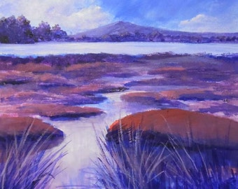 Original acrylic painting. Wetlands painting. Canvas  painting. Marshland painting. Nature painting. Pink, purple.