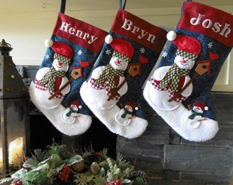 Personalised Embroidered Traditional Snowman Christmas Stockings