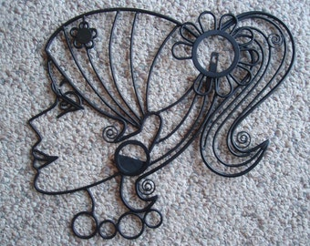 Wire Art Lady Girl with Pony Tail Collectible a2519