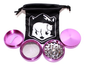 Purple Metal Herb Grinder with FREE Microfiber Carrying Pouch and Scoop - 2 Inch Wide 4 Piece Herb Grinder - Purple Grinder