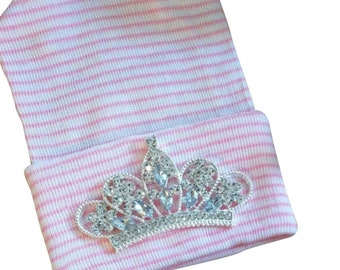 Newborn Hospital Hat EXCLUSIVE. Pink and White Stripe Hat with Clear Rhinestone Tiara. Her Very 1st TIARA Keepsake!