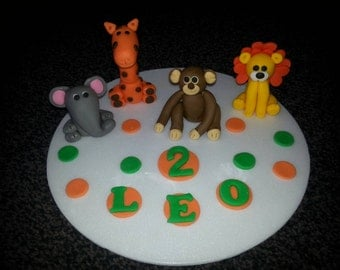 Edible jungle animals birthday cake topper decoration