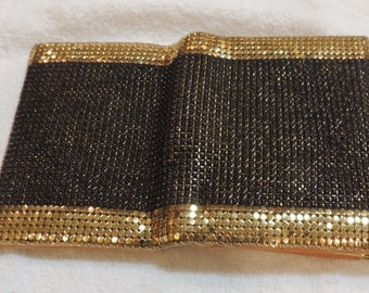 Black and Gold Mesh Wallet with Change Purse and Billfold