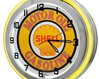 Shell Gasoline Yellow Double Neon Clock