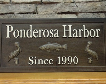 Family Name Sign Fishing Sign Harbor Sign Pelican Sign Carved Wood Sign Personalized Sign Distressed Wooden Sign