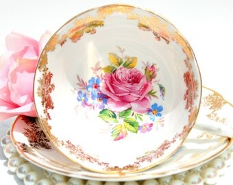 Antique English Tea Cup and Saucer.Fine Bone China English Tea Set.White & Gold with Pink Rose Tea Cup.Tea Party,Shower Favor,Wedding Gift