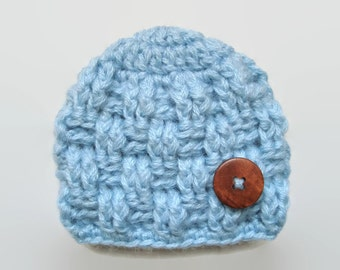 Newborn boy hat, basket weave hat, mohair baby hat, baby boy hat, crochet baby hat, hospital baby hat, newborn boy outfit,button baby hat