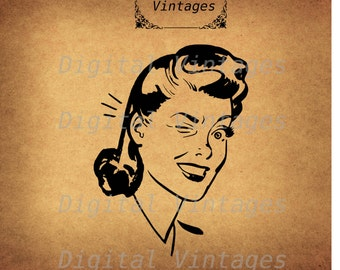 Retro Woman Winking Blink Wink Illustration Vintage Antique Digital Image Graphic Download Printable Graphic Clip Art Prints HQ 300dpi