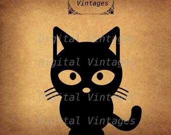 Black Cat Icon illustration Vintage Digital Image Download Printable Clip Art Prints HQ 300dpi svg jpg png