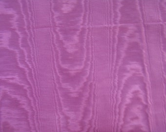 1.4 yds Rose Pink moire Fabric Vintage