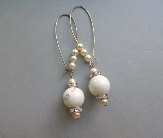 Items similar to long kidney hooks white glass pearls for Jewelry made from kidney stones