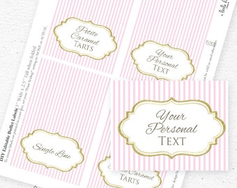 Instant Download - Gold Glitter and Pink Food Labels | Buffet Tent Cards | Name Tags | MS Word, Editable PDF, JPEG | Glitter