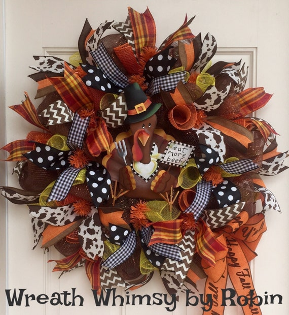 Modern thanksgiving decor - Deco Mesh Thanksgiving Wreath With Pilgrim Turkey Fall