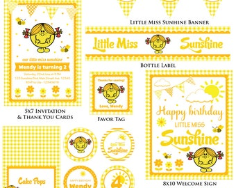 Customized Little Miss Sunshine Digital Printable Birthday Invitation and Party Kit