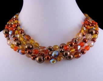 Beautiful Vintage Joan Rivers Four Strand Czech Glass Bead Necklace Autumn Colors Fall Colors