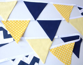 Navy and yellow, baby boy, baby girl, baby shower decorations, nursery decor, baby bunting, cake smash banner, photo prop, spots, chevron
