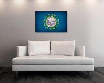 Vintage South Dakota Canvas Print, South Dakota Flag,  South Dakota Flag Art, South Dakota Wall Art, Wall Decor, State Poster [PP043-C]
