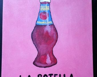 LA BOTELLA (the bottle) loteria/Mexican bingo painting on a 16x20 in flat canvas