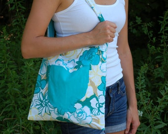 Handmade Ohio Purse - Blue Floral Pattern Tote with Turquoise Ohio Cutout