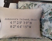 Latitude Longitude Johnson's Island Pillow Embroidered