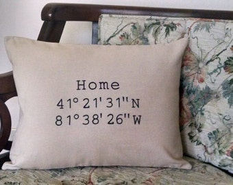 Latitude Longitude Pillow Embroidered