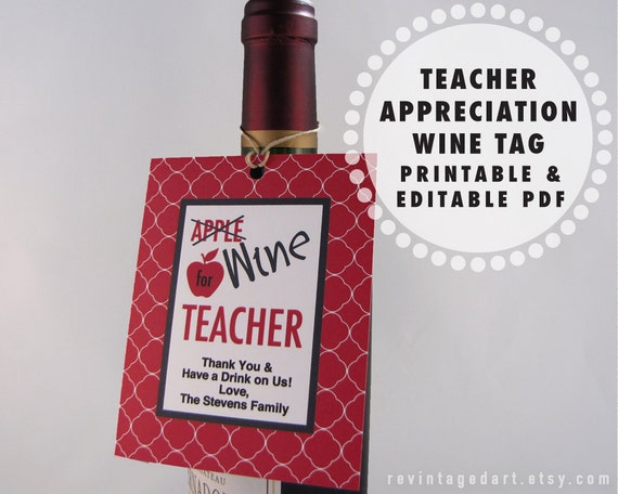 printable teacher gift tags for wine bottles wine for