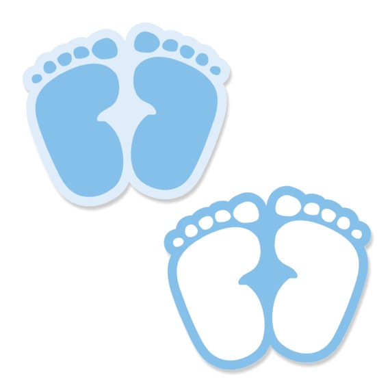 24 pc small baby feet blue paper cut outs baby shower or birthday