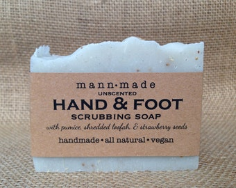 Hand and Foot Scrub Soap, with Pumice, Shredded Loofah, Strawberry Seeds - Vegan, All Natural, Unscented, Exfoliating