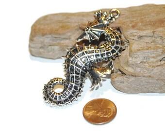 Seahorse Pendant, Silver Sea Horse, Seahorse Necklace Focal, Large Seahorse, Beach Jewelry, Nautical Jewelry, Sea Life, Animal Pendant
