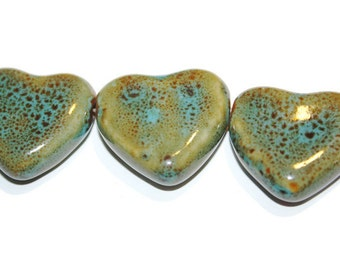Ceramic Heart Beads, Rustic Beads, Earthy Beads, 27mm x 30mm Beads, Artisan Jewelry Supplies, Handmade Beads, Glazed Ceramic Beads, Unique