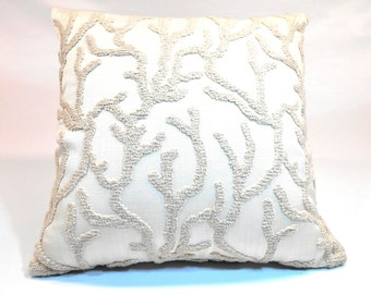 Free shipping/BEIGE LINEN PILLOW Cover18x18 inches-Beige and Ivory-Embossed Algae-Throw pillow-Decorative pillow-Accent pillow-Square