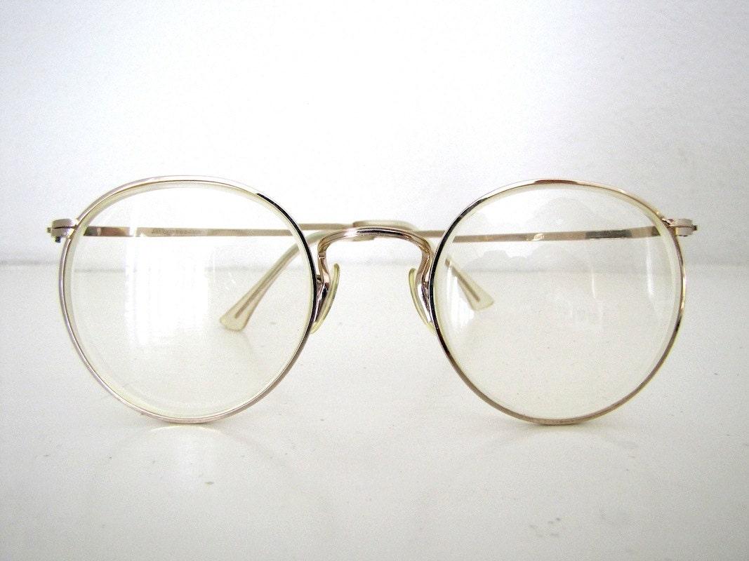 John Lennon Type Eyeglass Frames : 80s VINTAGE ROUND EYEGLASSES, 1980s Gold-Toned Eye Glass ...