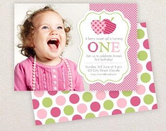 INSTANT DOWNLOAD: Birthday invitation Template - Pink and green strawberries